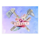 Tomahawk Hammer and Flowers Watercolor Design Postcard