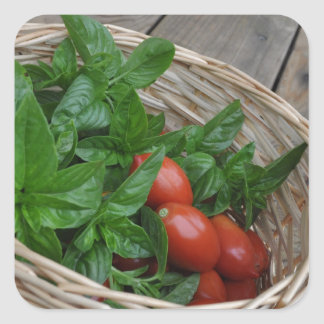 Tomato and Basil Dreams Square Sticker