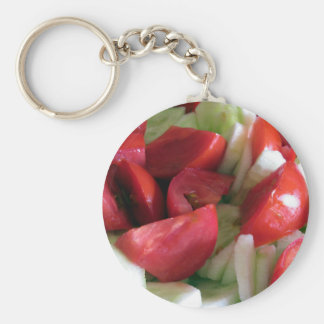 Tomato and cucumber salad basic round button keychain