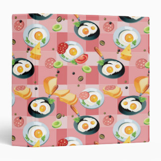 Tomato and Fried Eggs Pattern 3 Ring Binder