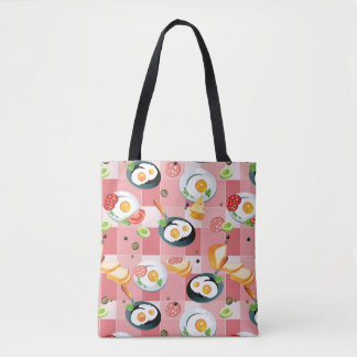 Tomato and Fried Eggs Pattern Tote Bag