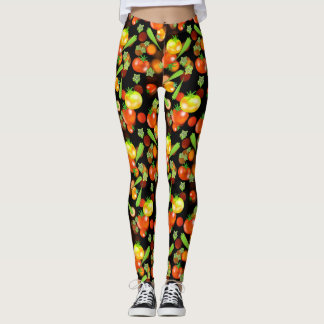 Tomato and okra garden vegetables leggings