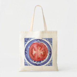 Tomato and Willow Pattern Plate. Tote Bag