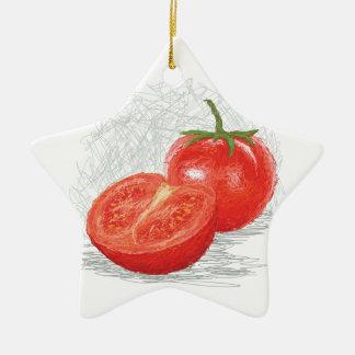 tomato ceramic star ornament