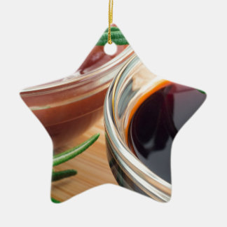 Tomato ketchup and soy sauce in a transparent bowl ceramic ornament