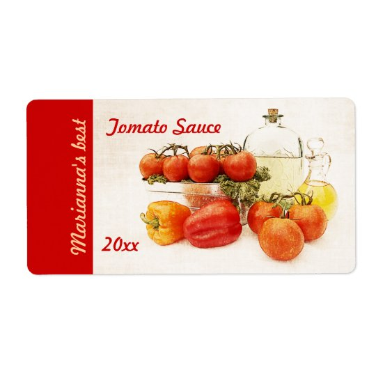 Tomato or pasta sauce canning label shipping label