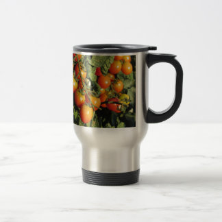 Tomato plants growing in the garden travel mug