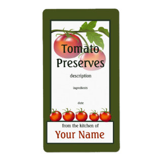 Tomato Preserved Kitchen Label Shipping Label