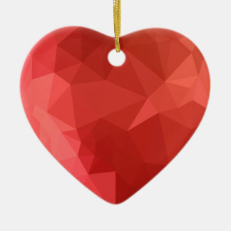 Tomato Red Abstract Low Polygon Background Ceramic Heart Ornament