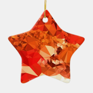 Tomato Red Abstract Low Polygon Background Ceramic Star Ornament
