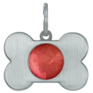 Tomato Red Abstract Low Polygon Background Pet Name Tag