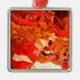 Tomato Red Abstract Low Polygon Background Silver-Colored Square Ornament