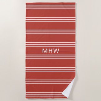 Tomato Red Stripes custom monogram beach towel
