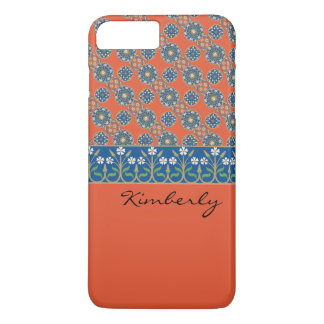 Tomato Red with Blue Flowers Case-Mate iPhone Case