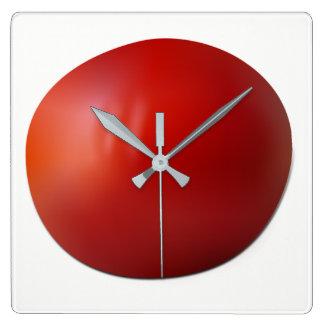 Tomato Square Wall Clock