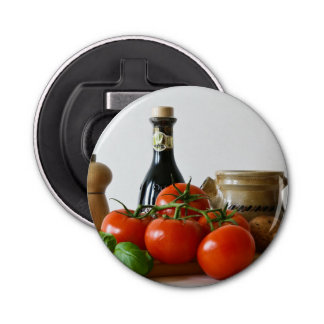 Tomato Still Life Button Bottle Opener