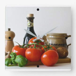 Tomato Still Life Square Wall Clock