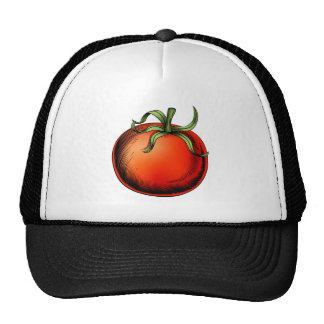 Tomato vintage woodcut illustration mesh hat