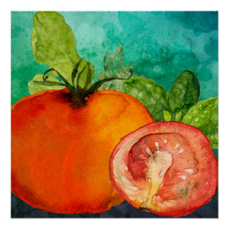 Tomato watercolor by ozias poster