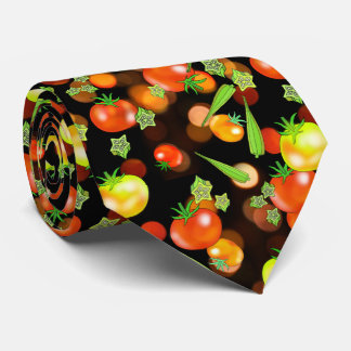 Tomatoes and okra veggies neck tie