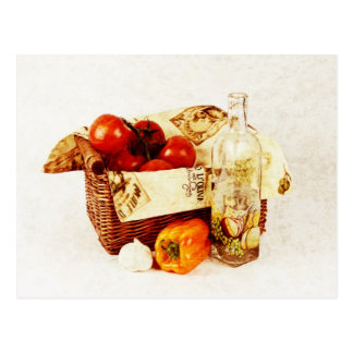 Tomatoes in a basket and olive oil postcard