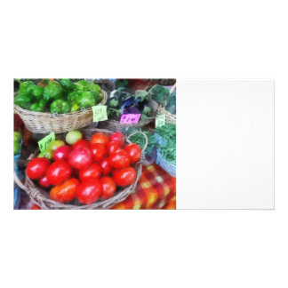 Tomatoes, String Beans and Peppers at Farmer's Mar Customized Photo Card