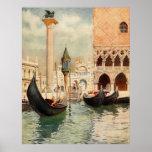 Tombeau antique vintage de gondole de l'Italie Ven Affiches