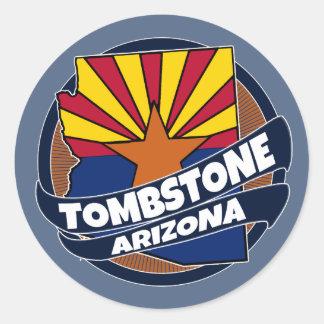Tombstone Arizona flag burst round stickers