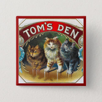 Toms Den Vintage Cigar Label 2 Inch Square Button