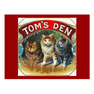 Toms Den Vintage Cigar Label Postcard