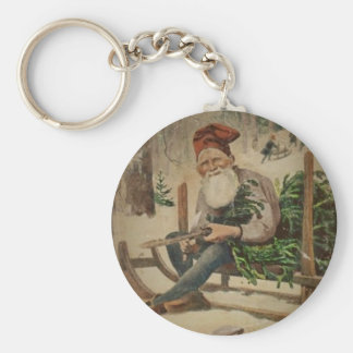 Tomte Trims the Tree Keychain