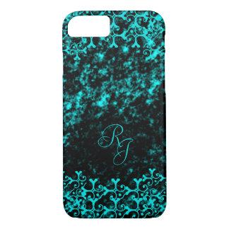 Tonal Elegance Black and Turquoise Monogrammed iPhone 7 Case