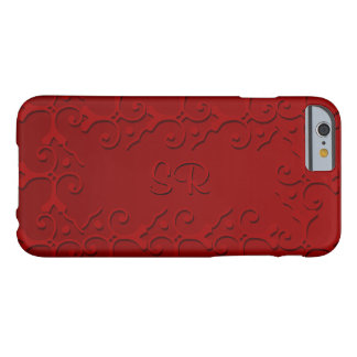 Tonal Elegance Dark Red Monogrammed Barely There iPhone 6 Case