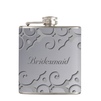 Tonal Elegance Silver BRIDESMAID Flask
