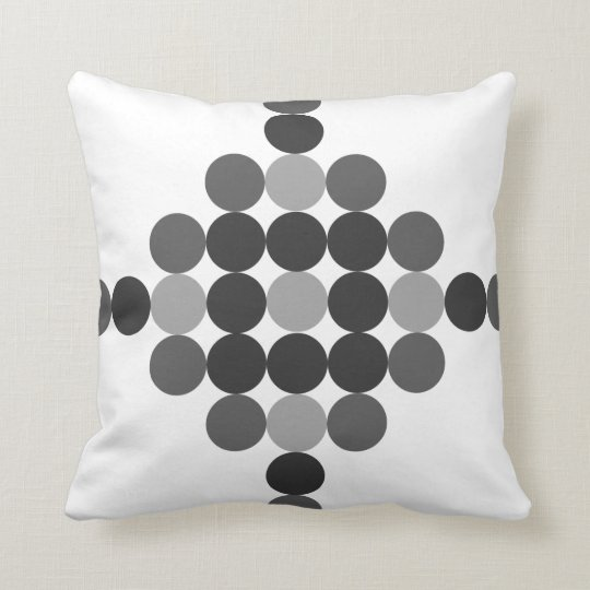 Tonal Grey Dots Graphic Design Throw Pillow