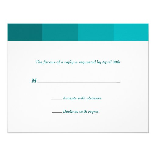 Tonal Seagreen Bar Mitzvah Reply Personalized Announcements