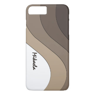 Tonal Wave Taupe Striped Personalized iPhone 7 Plus Case