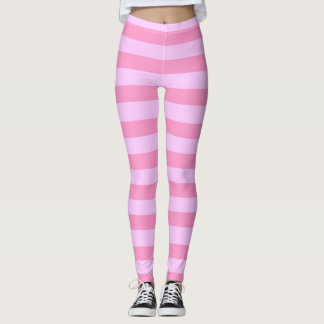 Tone on Tone Pink Stripes Pattern Leggings