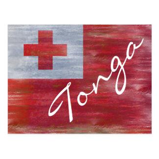 Tonga distressed Tongan flag Postcard