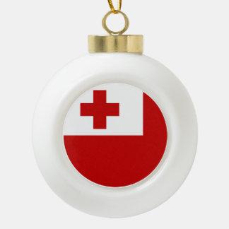 Tonga Flag Ceramic Ball Christmas Ornament