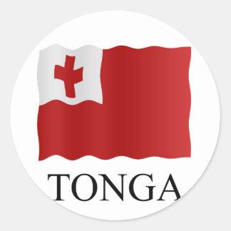 Tonga flag classic round sticker