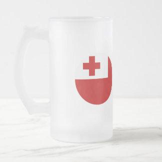 Tonga Flag Frosted Glass Beer Mug