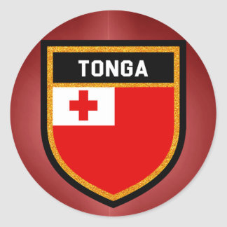 Tonga Flag Round Sticker