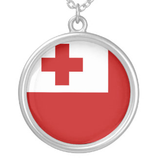 Tonga Flag Silver Plated Necklace