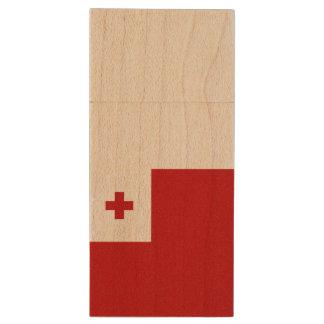 Tonga Flag Wood USB 3.0 Flash Drive