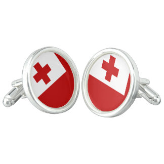 Tonga Island Flag Red Cross Cufflinks