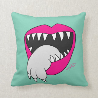Tongue Got Your Cat Pillow! by Jesse Lebon Throw Pillow