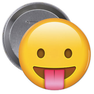 Tongue-Out Emoji 4 Inch Round Button