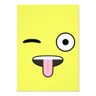 "Tongue out Emoji 5"" X 7"" Invitation Card"