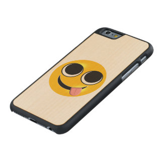Tongue Out Emoji Carved Maple iPhone 6 Case